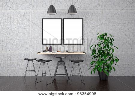 Mock Up Poster On Concrete Wall, 3D Illustration