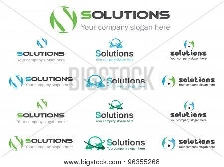 Solution business logos, vector file easy to edit.