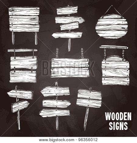 Wooden Signs Chalkboard Style Set