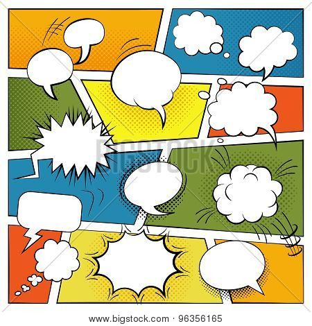 Blank Comic Bubbles Set