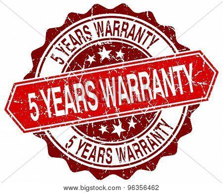 5 Years Warranty Red Round Grunge Stamp On White
