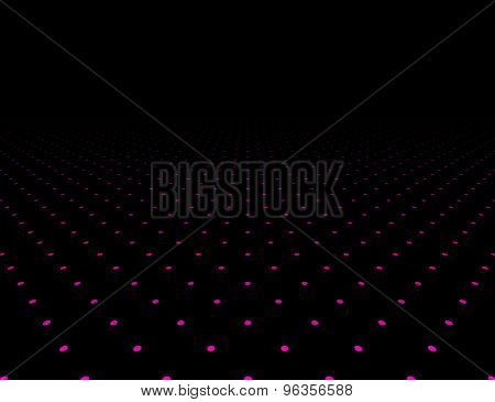 Perspective dark grid. Surface with circles. Vector illustration.