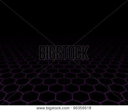 Perspective grid hexagonal dark surface. Vector illustration.