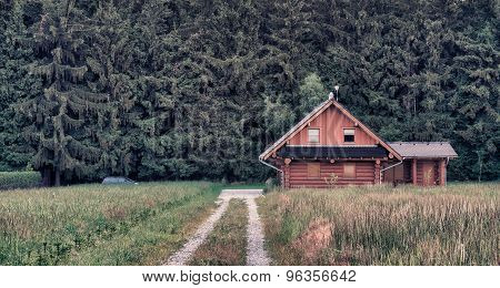 Wood Log Cabin Near Forest In Summer Morning