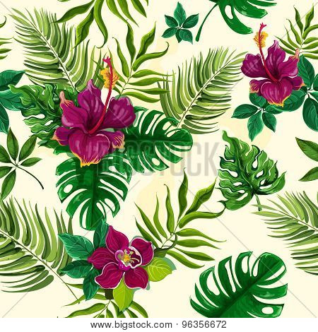 Tropical plants flowers seamless pattern
