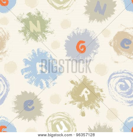 Abstract Seamless Pattern With Paint Blots