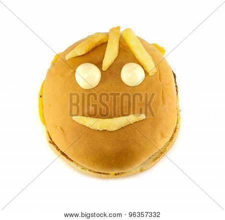 Funny Mug Of A Cheeseburger And Fries