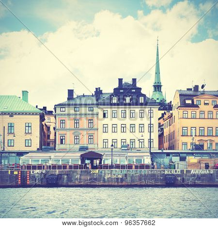 Waterfront in Stockholm. Instagram style filtred image