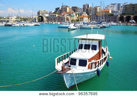 Fishing boat in port of Heraklion, Crete Island, Greece