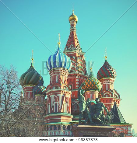 St. Basil's cathedral on the Red square in Moscow, Russia. Retro style filtred image