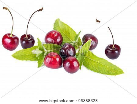 Cherry And Mint Leaves