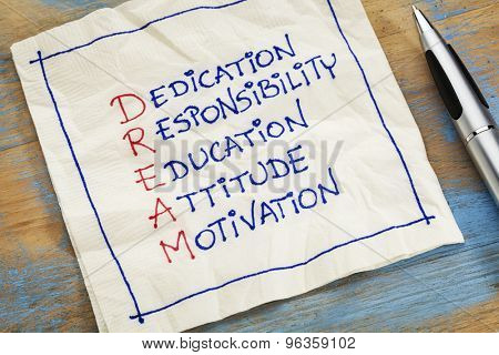 dedication, responsibility, education, attitude, motivation - DREAM acronym - a napkin doodle