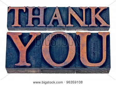thank you  - isolated text in vintage letterpress wood type printing blocks stained by blue and orange inks