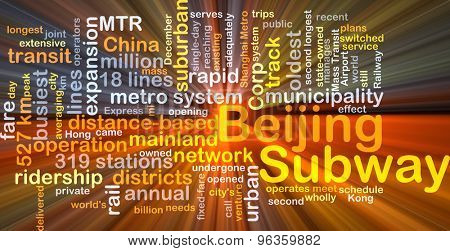 Background concept wordcloud illustration of Beijing subway glowing light