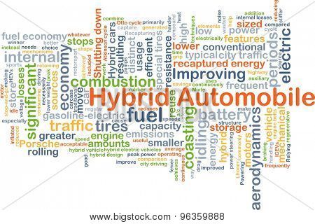 Background concept wordcloud illustration of hybrid automobile