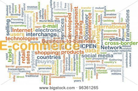 Background concept wordcloud illustration of e-commerce