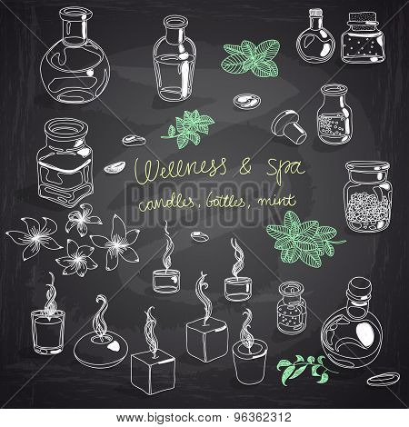 Vector illustration set with wellness and spa motives.
