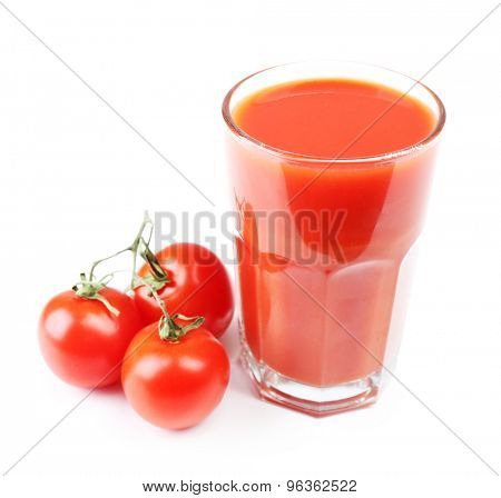Glass of tomato juice with vegetables isolated on white