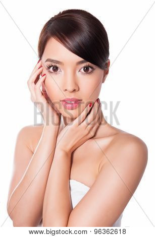 Beautiful Asian woman posing on isolated background