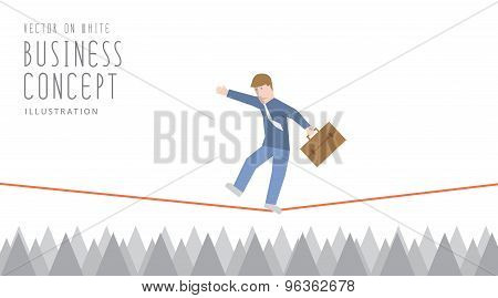 Businessman In Equilibrium On A Rope Over Sharp Thorns Flat Vector.