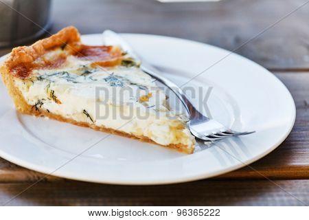 Quiche on a white plate