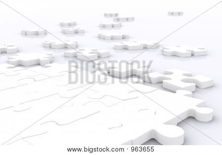 Group Of White Puzzle Pieces