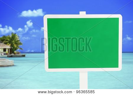 Wooden sign board on ocean background