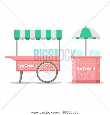 Ice cream colorful cart. Vector illustration