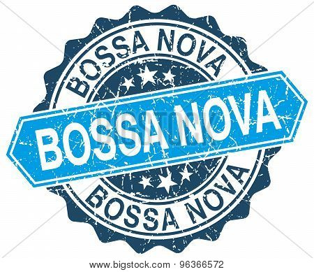Bossa Nova Blue Round Grunge Stamp On White