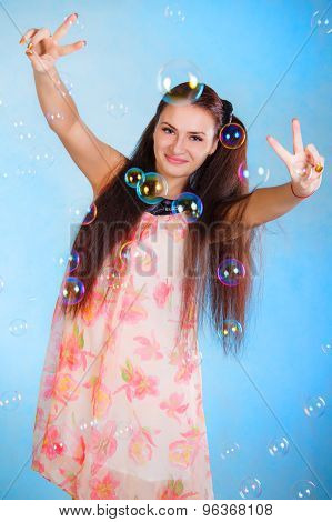 Cute Young Woman With Soap Bubbles