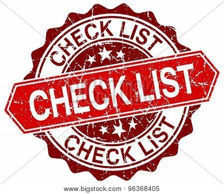 Check List Red Round Grunge Stamp On White