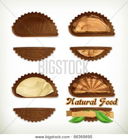 Leather stickers set, vector design elements