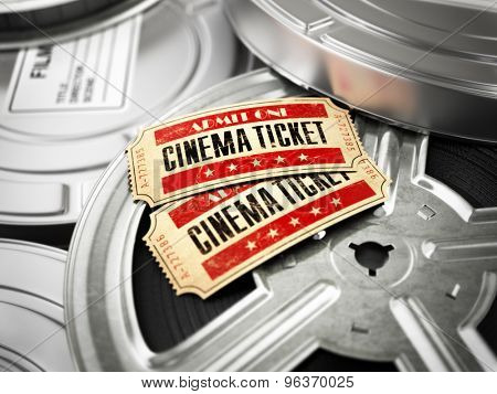 Movie, cinema vintage concept. Tickets on retro film reels and boxes. 3d