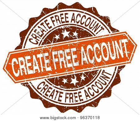Create Free Account Orange Round Grunge Stamp On White
