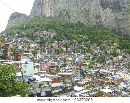 Mountain Covered By Poor Houses - Favela - Rio De Janeiro