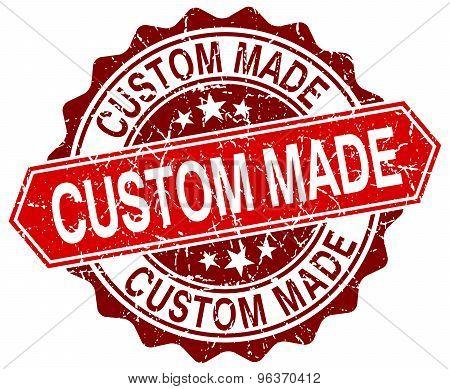 Custom Made Red Round Grunge Stamp On White
