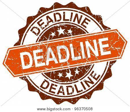 Deadline Orange Round Grunge Stamp On White