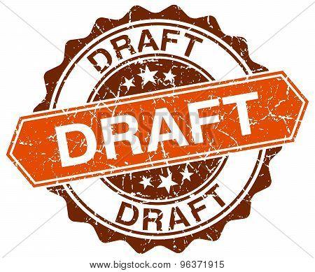 Draft Orange Round Grunge Stamp On White