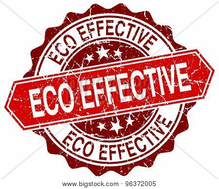 Eco Effective Red Round Grunge Stamp On White