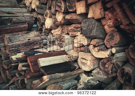 sectional drawing stack of firewood - wooden abstract background