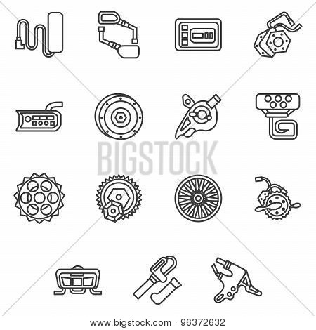 Simple line vector icons for e-bike parts
