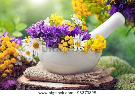 Mortar With Healing Herbs And Wild Flowers. Herbal Medicine.