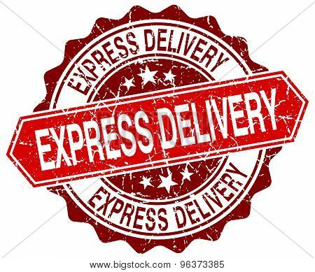Express Delivery Red Round Grunge Stamp On White