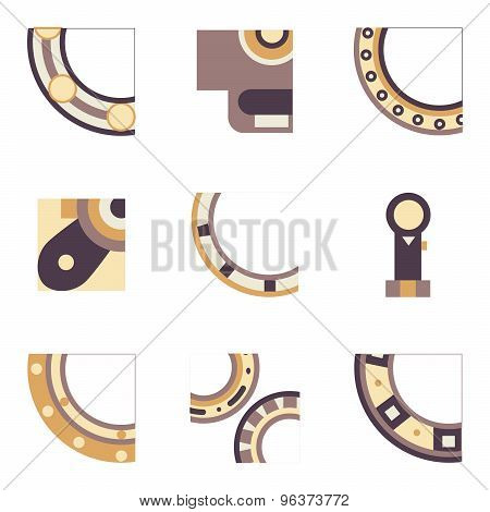 Parts of bearing colored vector icons