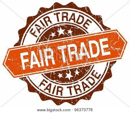 Fair Trade Orange Round Grunge Stamp On White