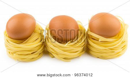 Row From Three Italian Pasta In Form Nest And Egg