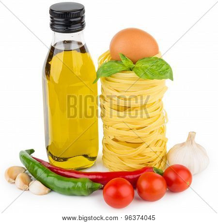 Stack Of Pasta In Form Of Nests, Oil Bottle