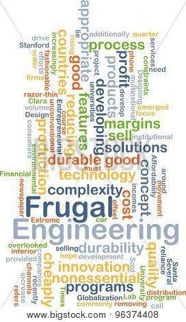 Background concept wordcloud illustration of frugal engineering