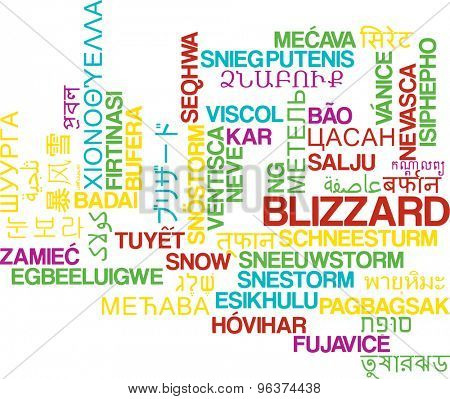 Background concept wordcloud multilanguage international many language illustration of blizzard storm