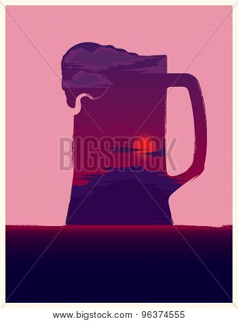 Beer Mug Illustration With Sunset Inside.